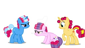 Trixie, Suri, and Sunset Shimmer in Hair Curlers by luluflaire