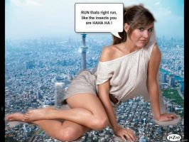 CARRIE FISHER ATTACKS TOKYO by darthbriboy