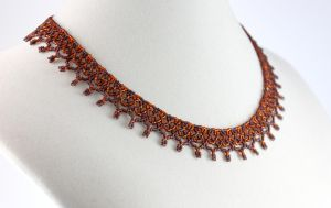 Autumn Brown Coronet Necklace by BeadfulStrings