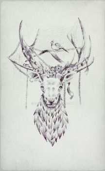 A stag with beads by Emmatyan