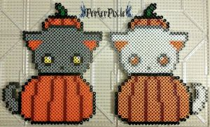 Pumpkin Kitties by PerlerPixie