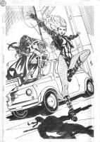 Huntress and Black Canary Commission Pencils by DrewEdwardJohnson