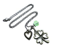 Bronze Clover Charm Necklace - Lucky Charm by crystaland