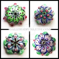 Pink and Green lampwork flower discs by Faeriedivine