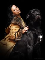 The woman with the dog by SmartyPhoto