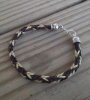 Braided Horsehair Bracelet - Brown and White by TarpanBeadworks