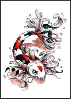 Commission - Koi tattoo colour by Yuki-Myst