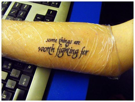 Worth fighting for - 1st tatto by KAMELOTrealm