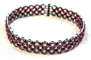 Double Helm Choker - Red Black White by SerenFey