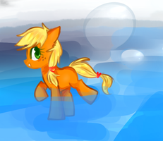 MLP - Apple Jack play water in the sea by FoxStoryCat