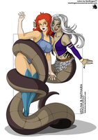 Coloring Commission - Leon-Na and Nathaira by StarDragon77