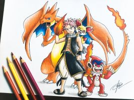 Fairy Tail x Pokemon (Natsu Dragneel) by goldprovip
