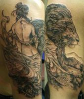 lady and lion tattoo by ShannonRitchie