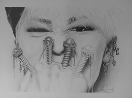 G-Dragon -Pencil Drawing by iamGii