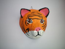 Papier Mache Tiger Mask by catgirl5472