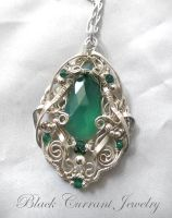 Green Onyx Drop and Sterling Silver Pendant by blackcurrantjewelry
