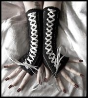 Pinstriped Corset Arm Warmers by ZenAndCoffee