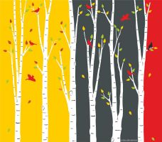 birch tree and cardinals illustration by Crabu