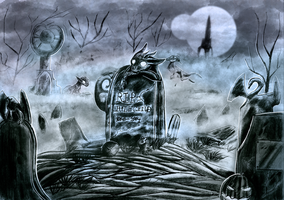 [Personal]Night at the cemetery by Noxsha