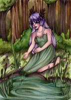 Forest pond by MadBlackie