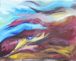 Abstract Dragon on Canvas by Elle-Arden