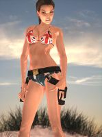 lara croft on the beach front by 7ipper