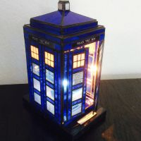 stained glass TARDIS lamp doors by surya-leilani