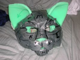 Cat fursuit head WIP Rocky by Poprock-The-Stray