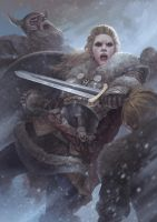 Vikings : Lagherta the shield maiden by fredrickruntu