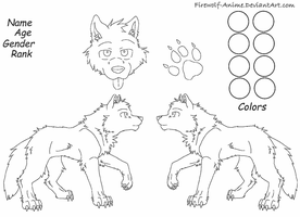 Wolf Reference Sheet Line Art by Firewolf-Anime