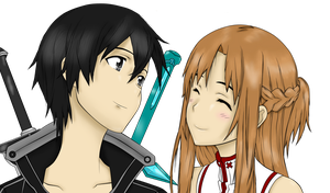 Kirito and Asuna Colored by Coolcatz56