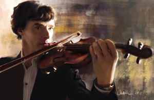 Sherlock with violin by RussianVal