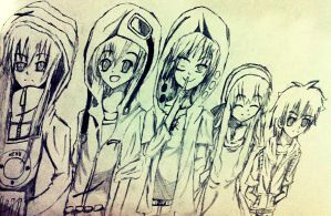 Kagerou Project - Members 1, 2, 3, 4, 8 by HarmonianTraveller