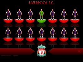Liverpool FC Subbuteo Warrior 2nd away kit by kitster29
