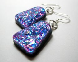 Cool Sparkle Resin Earrings by ExperienceDesigns