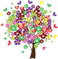 Colorful tree with butterflies by artbeautifulcloth