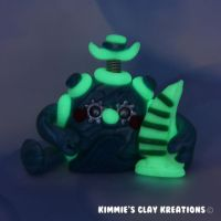 Polymer Clay Robot I Love Sailing Glow Figurine by KIMMIESCLAYKREATIONS