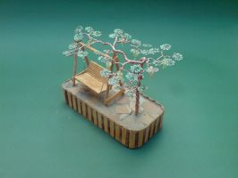 Bonsai Wire Tree Sculpture Beaded Grape Vineyard by sinisaart