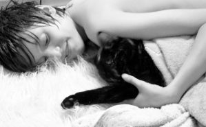 The boy and the cat, just come to the sauna. by Kata-Rita