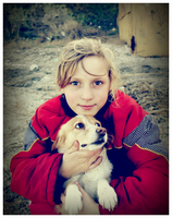 Little Girl with Dog. by Lapapunk