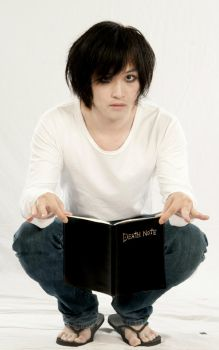 L with a Death Note by Bakaiser