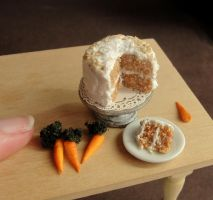 Dollhouse Miniature Carrot Cake by fairchildart