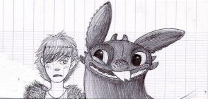 Toothless and Hiccup by Mioumioune