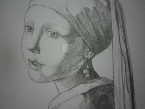 The Girl with the Pearl Earring (close up) by FoolofaTook97