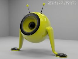 Yellow Desk Speaker Robot by fukm