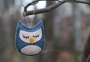 Blue Felt Owl Ornament by suzannahashley