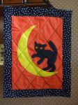 Halloween Cat on the Moon Wall Hanging by alrach