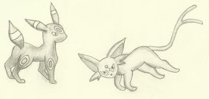 Umbreon and Espeon by Amarath-of-the-Lake