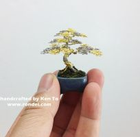 Gold silver mame wire bonsai tree by Ken To by KenToArt
