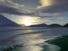 Terragen Beach Sunset by esheafer